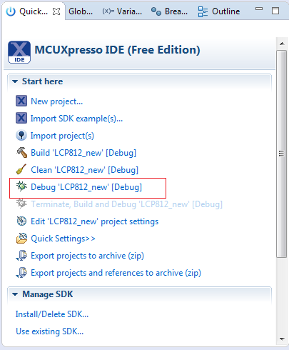 Select Compiled Project in MCUXpresso IDE Quick Start Window